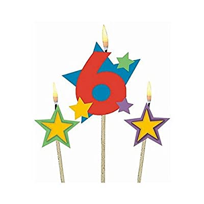 "Amscan Birthday Celebration, #6 Decorative Pick Candles, Party Supplies, Multicolor, 7"" 3ct: Birthday Candles: Kitchen & Dining"