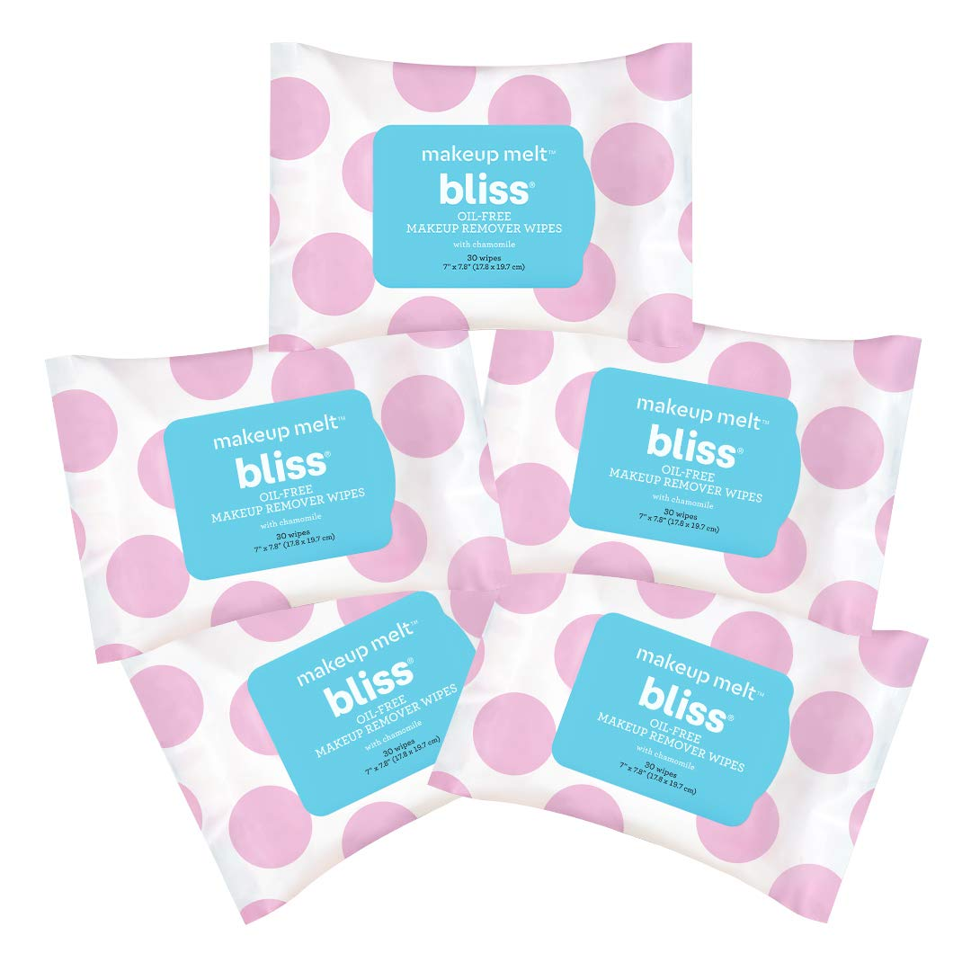 Bliss Oil-Free Makeup Melt Facial Cleansing Makeup Remover Wipes with Skin Hydrating Chamomile, Aloe & Marshmallow Root, Gentle Enough for All Skin Types, 30 ct. (5-pack)