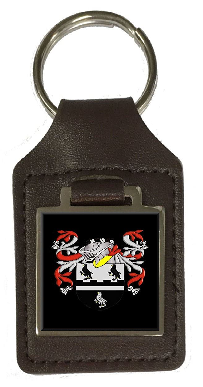 Thompson Family Crest Surname Coat Of Arms Brown Leather Keyring Engraved