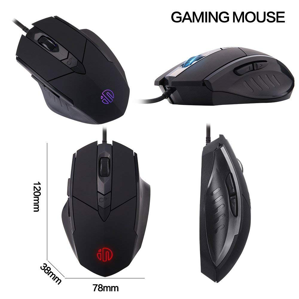 Inphic Gaming Mouse, 4800 DPI Programmable Ergonomic PC Computer Laptop Mac Gaming Mouse with 7 RGB Modes, 6 Buttons, 5 Adjustable DPI Levels for Pro Gamer, Win 10/8/7/XP (Black)
