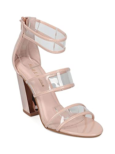 859abb93c1d Alrisco Open Toe Triple Band Lucite Metallic Block Heel Sandal HC12 - Nude  Patent (Size