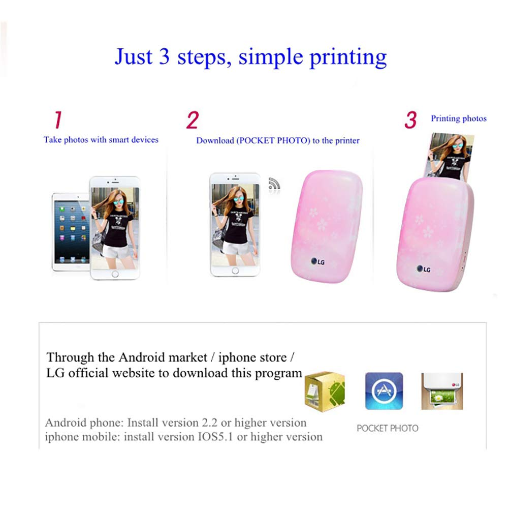 SFXYJ Mobile Phone Photo Printer Mini Portable Pocket Color Wireless Home Small Photo Print,B by SFXYJ (Image #2)