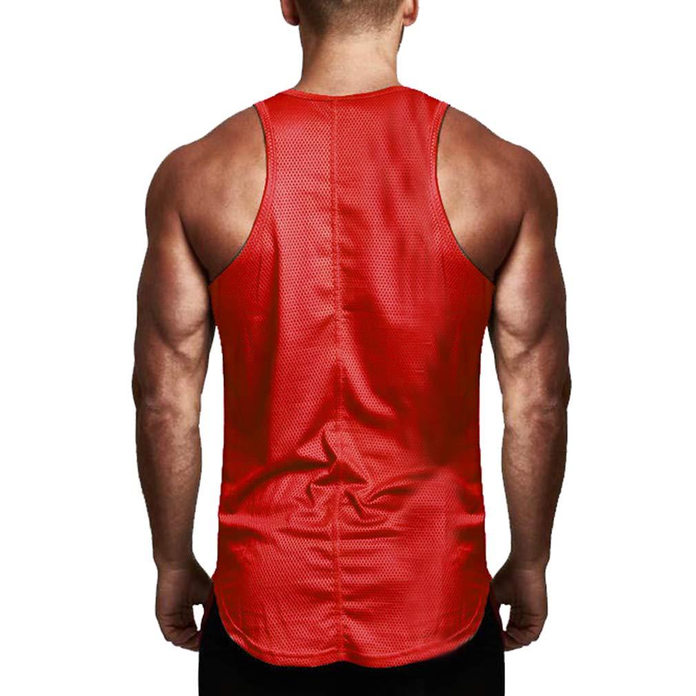 Yying Herren L/ässige Fitness Tank Tops F/ür Herren Mesh /Ärmellose Aktive Muskel T-Shirts Westen Unterhemden