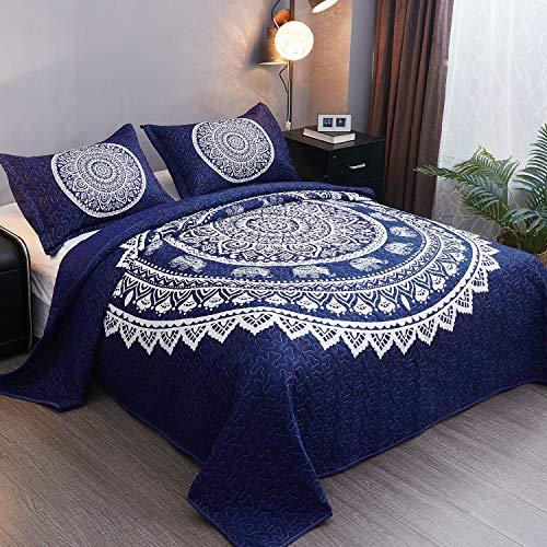 LAMEJOR Quilt Set Queen Size Bohemian Elephant Pattern Comforter Set as Bedspread/Coverlet Microfiber Lightweight Navy Blue