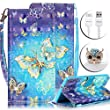 Samsung Galaxy S5 I9600 Colorful Printing Case,Vandot PU Leather Magnetic Flip Stand Wallet Case Diamond Rhinestone Shockproof Protective Skin Cover+Anti Dust Plug+USB Cable-Gold Blue Butterfly