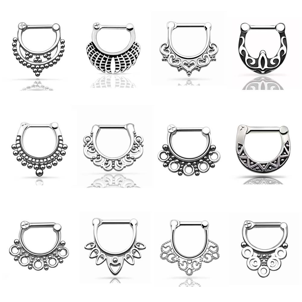 D&M Jewelry 12pcs 316L Stainless Steel - Vintage Septum Clicker Nose Ring 14g 16g WLH161-12Pcs-1.2MM