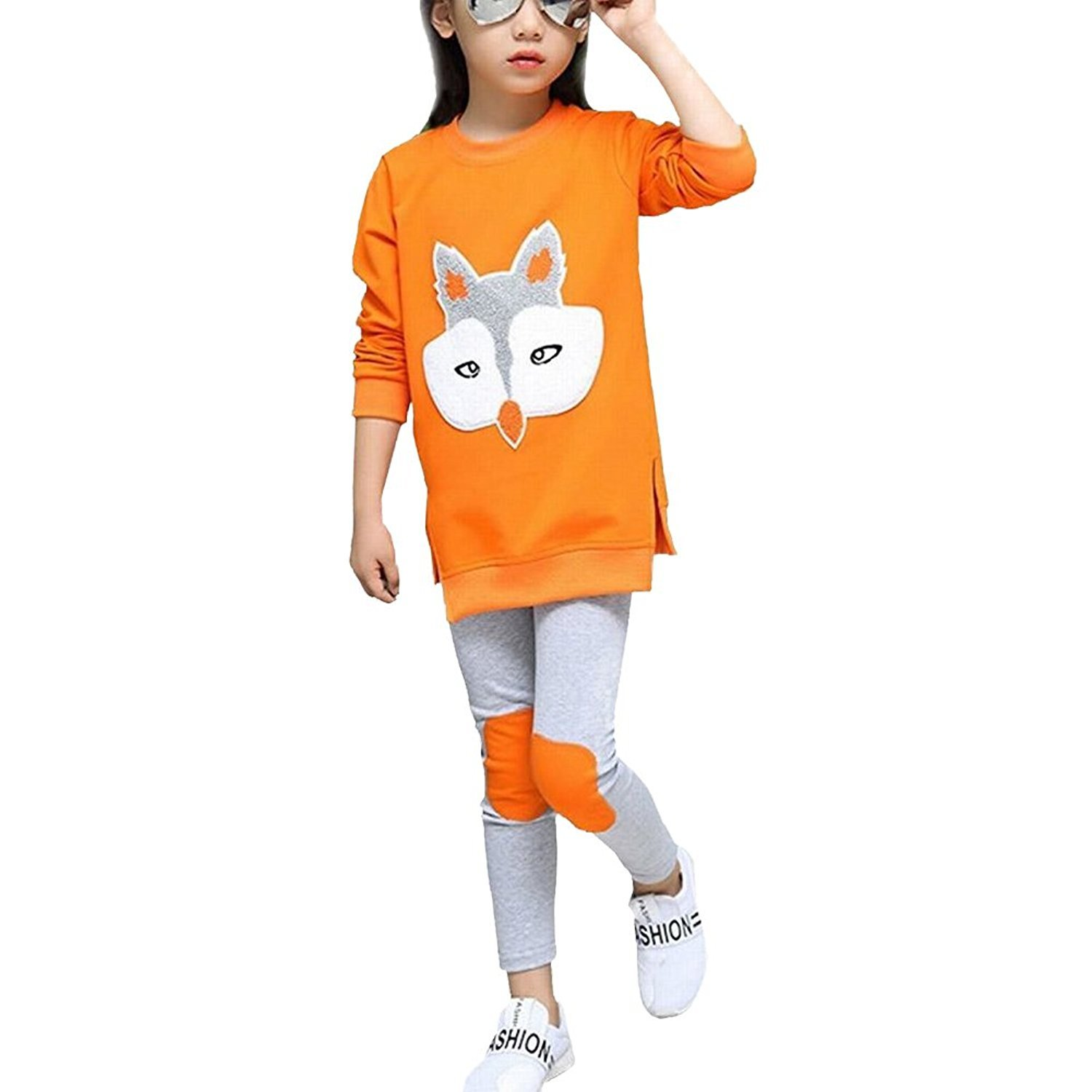 M RACLE Cute Little Girls' 2 Pieces Long Sleeve Top Pants Leggings Clothes Set Outfit (7-8 Years(140), Orange Fox)