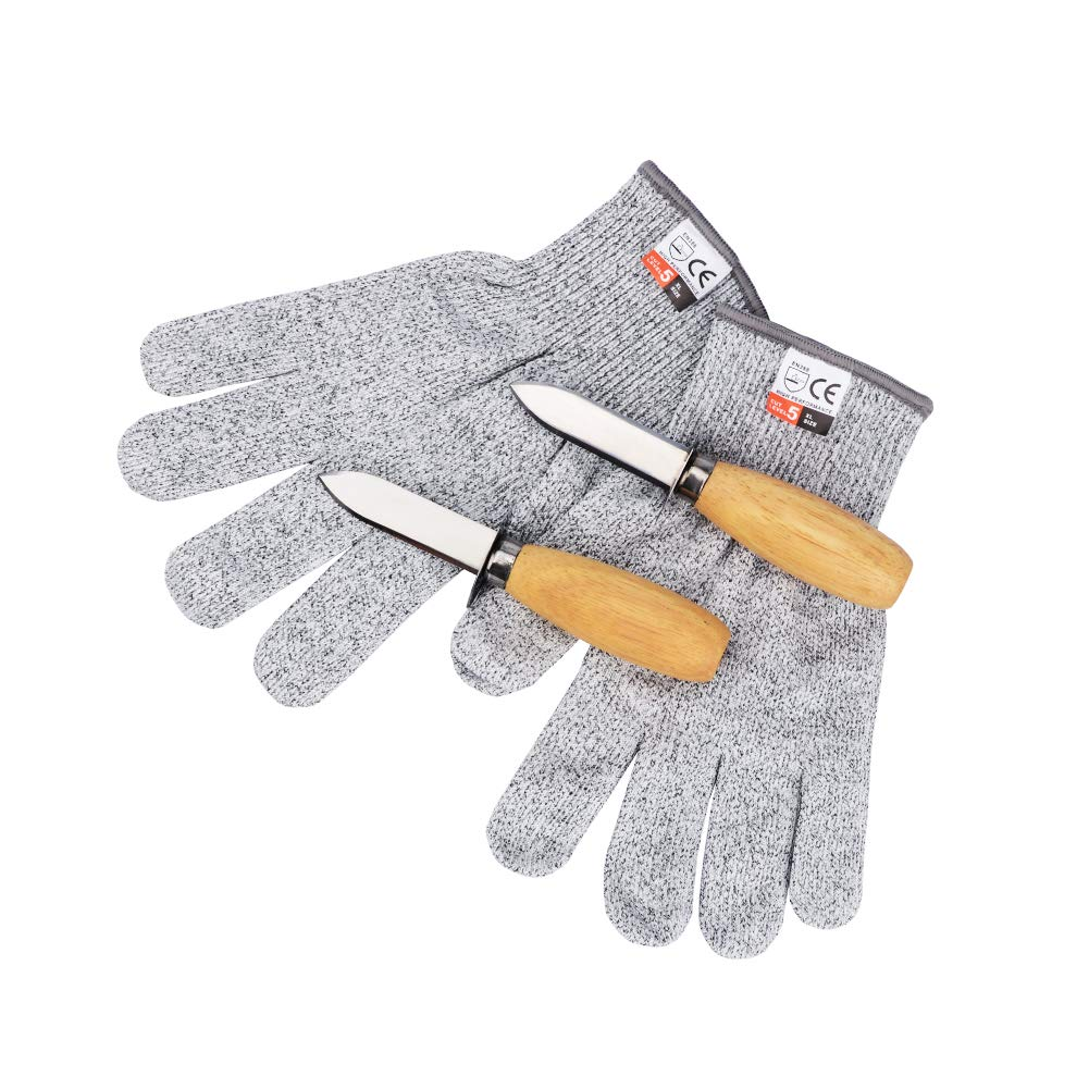 Oyster Shucking Set-Oyster Shucker Opener Tool Oyster Shucking Knife with Level 5 Protection Food Grade Cut Resistant Gloves(XL) by Milky House