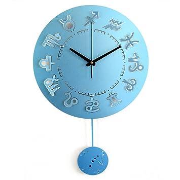 Amazon De Wanduhr Uhren Und Uhren Pendeluhr Blau Silber Rot Gold