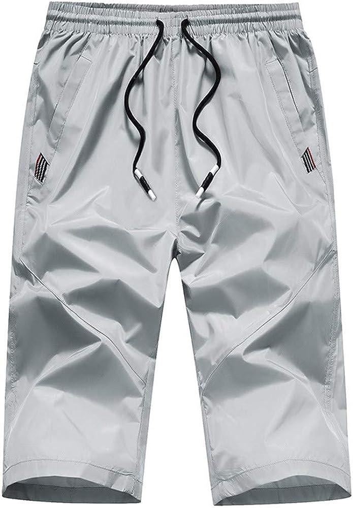 YEBIRAL Pantalones Cortos Hombre, Verano con cordón Cintura ...