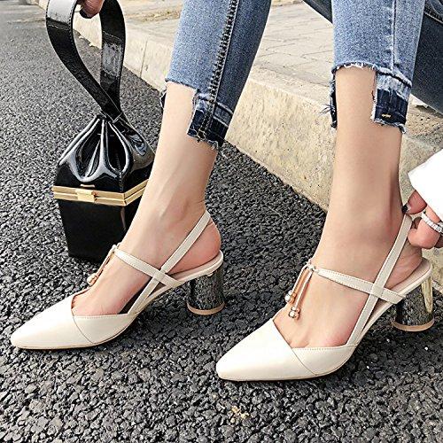 Jqdyl High Heels Weibliche Sandalen Sommer Starke Ferse High Heels Wild Damenschuhe  39|White