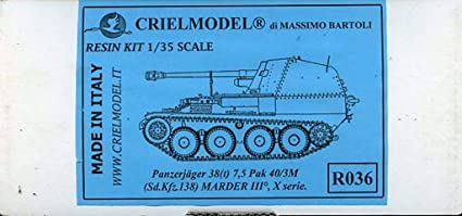 Criel Model 1:35 Panzerjager 38t 7.5 Pak 40//3M Marder III Resin Model Kit #R036