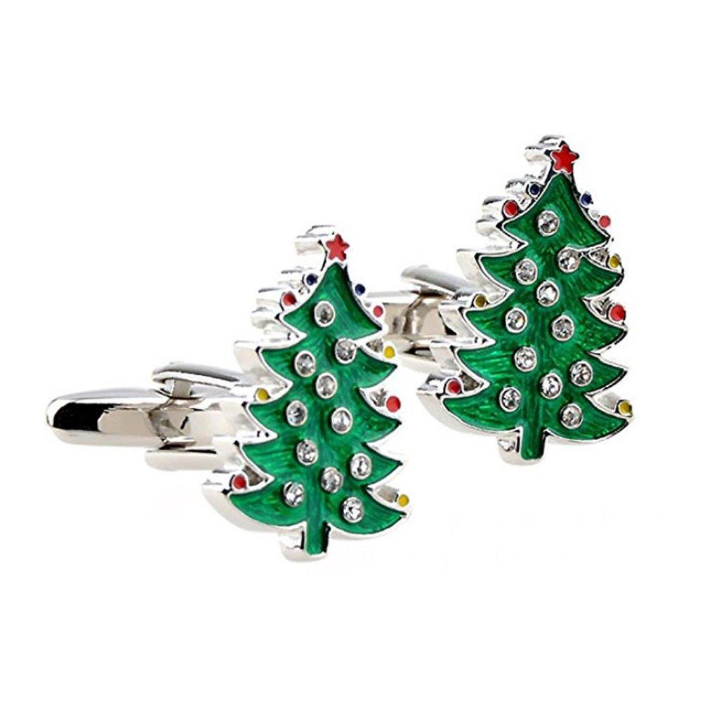 1 Paar Herren Dekor Weihnachten Baum Manschettenknöpfe Manschette Geschenk MagiDeal