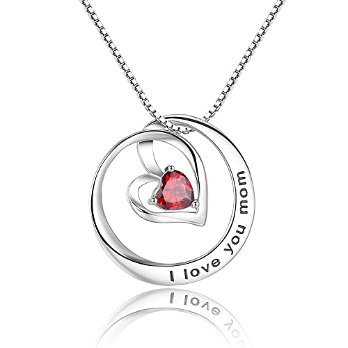 Studiocc I Love You Mom Birthstone Heart Cubic Zirconia CZ Pendant Necklace Gifts For