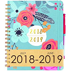 Planner 2018 & 6 Color Pens~Hardcover Notebook with Pen Holder