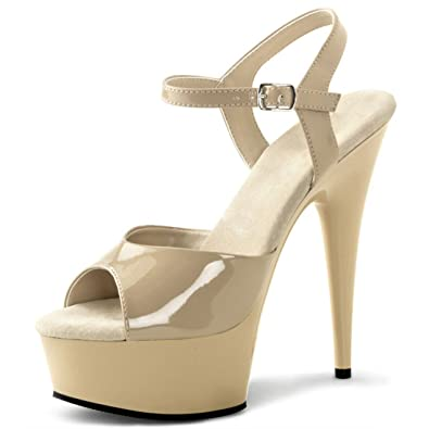 Summitfashions Basic and Classy Nude Strappy Sandals with Ankle Strap and 6  Inch Heels Size