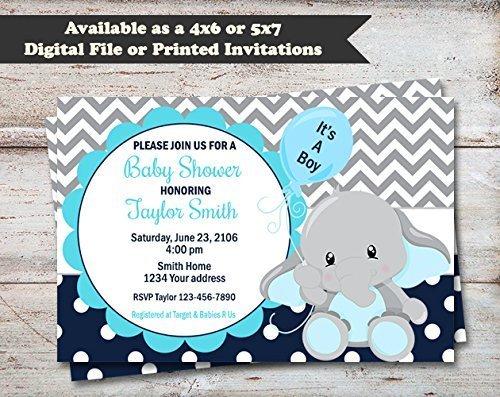 Elephant Baby Shower Invitation, Elephant Shower Invite, Safari Baby Shower, Elephant Themed Invitation, Pink, Blue, Yellow, or (Pink Safari Baby Shower Invitations)