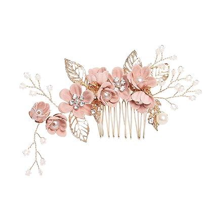 6.5cm Wide Pearl Flower Leaf Wedding Bridal Bridesmaid Prom Crystal Hair Comb