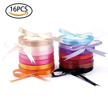 Amazon Com Satin Ribbon Set 10mm Wide Rainbow Craft Fabric Satin