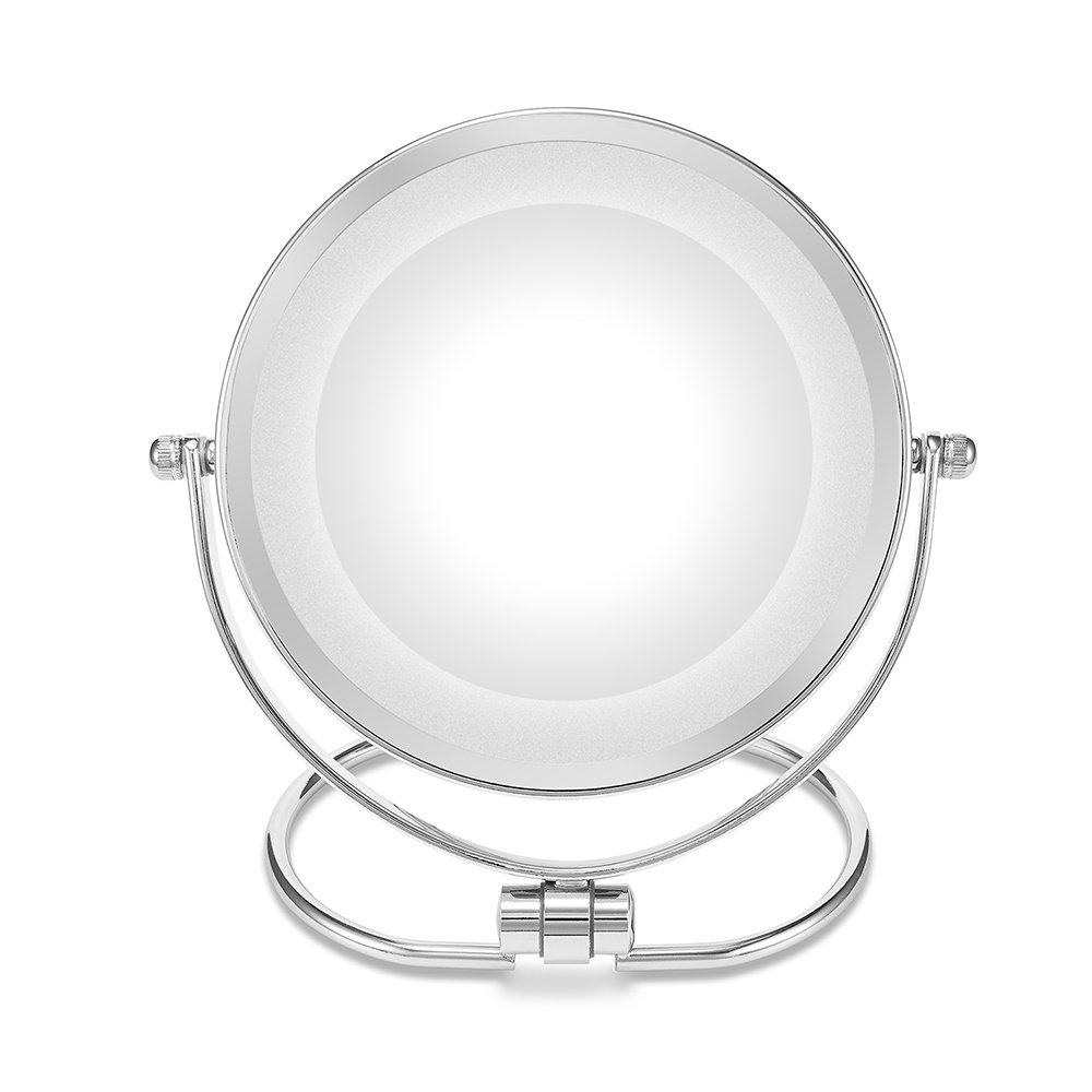 Double-Sided Makeup Mirror,Folding LED Lighted Vanity Mirror,1x/10x Magenifycation, 6-Inch,Stainless Steel