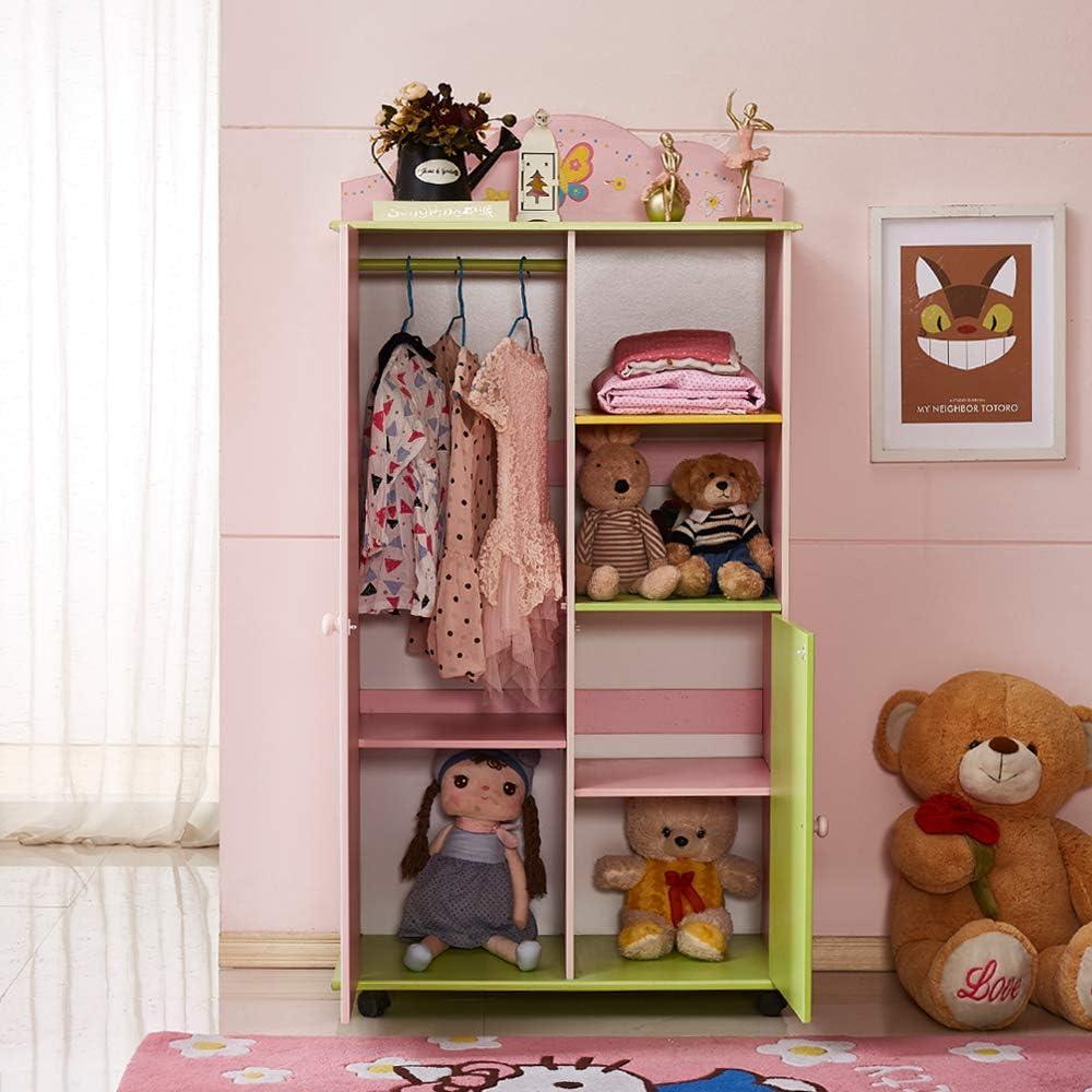 Childs Wood Kleiderschrank WODENY Kids Wardrobes Schlafzimmerm/öbel Girls Kinderkleidungs-Organisator-K/ästen mit Pastellwasser-Farben-Blumen-Schmetterlings-Fee Kinderschrank