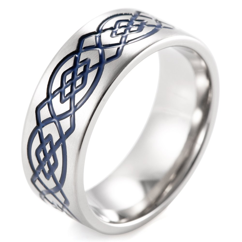 SHARDON Mens 8mm Flat Titanium Ring with Blue Engraved Celtic Knots