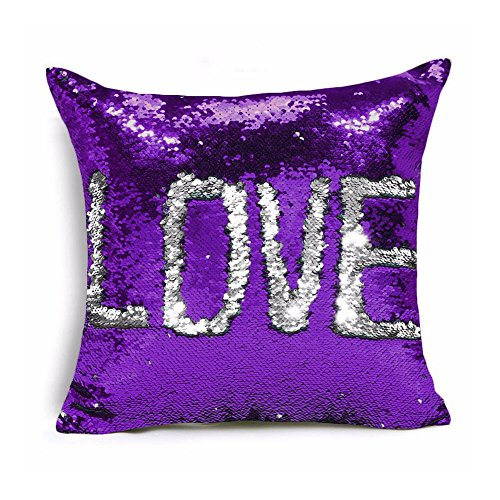 Ainik Mermaid Pillow Case Mermaid Pillow Cover Sequin Throw Pillow Case Decorative Color Change Cushion Cover Sofa Bedroom Car Kids 16 x 16 inches (Purple/Silver)