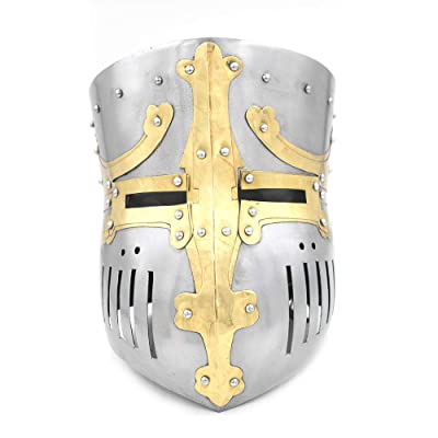 Medieval Armour Wearable Crusader Halloween Templar Knight Helmet Brass Costume