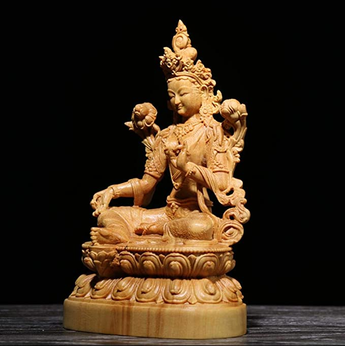 qingtianlove Tres Bodhisattva Verde Tara Buxus Talla de Madera ...