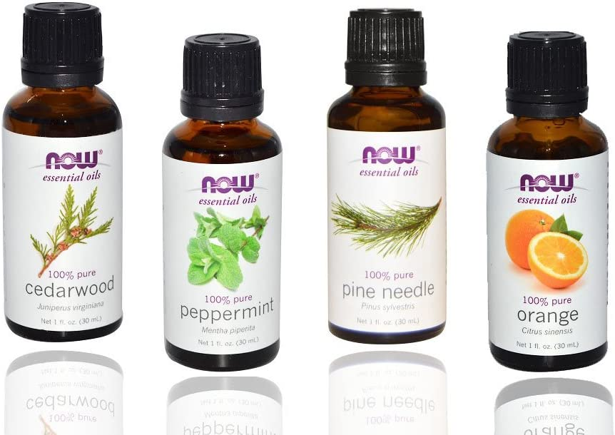 4-pack Now Foods Essential Oils: Christmas Scent: Peppermint, Cedarwood, Pine, Orange Oil