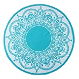 Superior Round Beach Towel, 100% Premium Cotton, 5 Stylish Mandala Beach Towel Designs, Super Soft, Plush and Highly Absorbent Circle Beach Towels - Lotus Intricate Turquoise Medallion