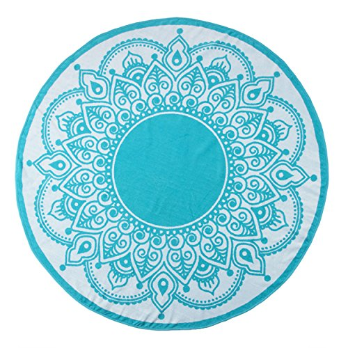 - Superior Round Beach Towel, 100% Premium Cotton, 5 Stylish Mandala Beach Towel Designs, Super Soft, Plush and Highly Absorbent Circle Beach Towels - Lotus Intricate Turquoise Medallion
