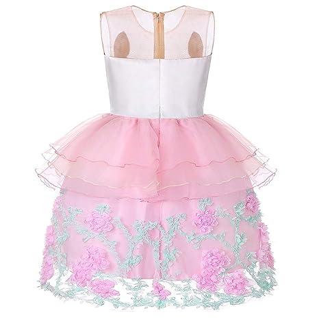 Xiao Jian- Traje de Fiesta - Unicornio Vestido de niña Rosa/púrpura ...