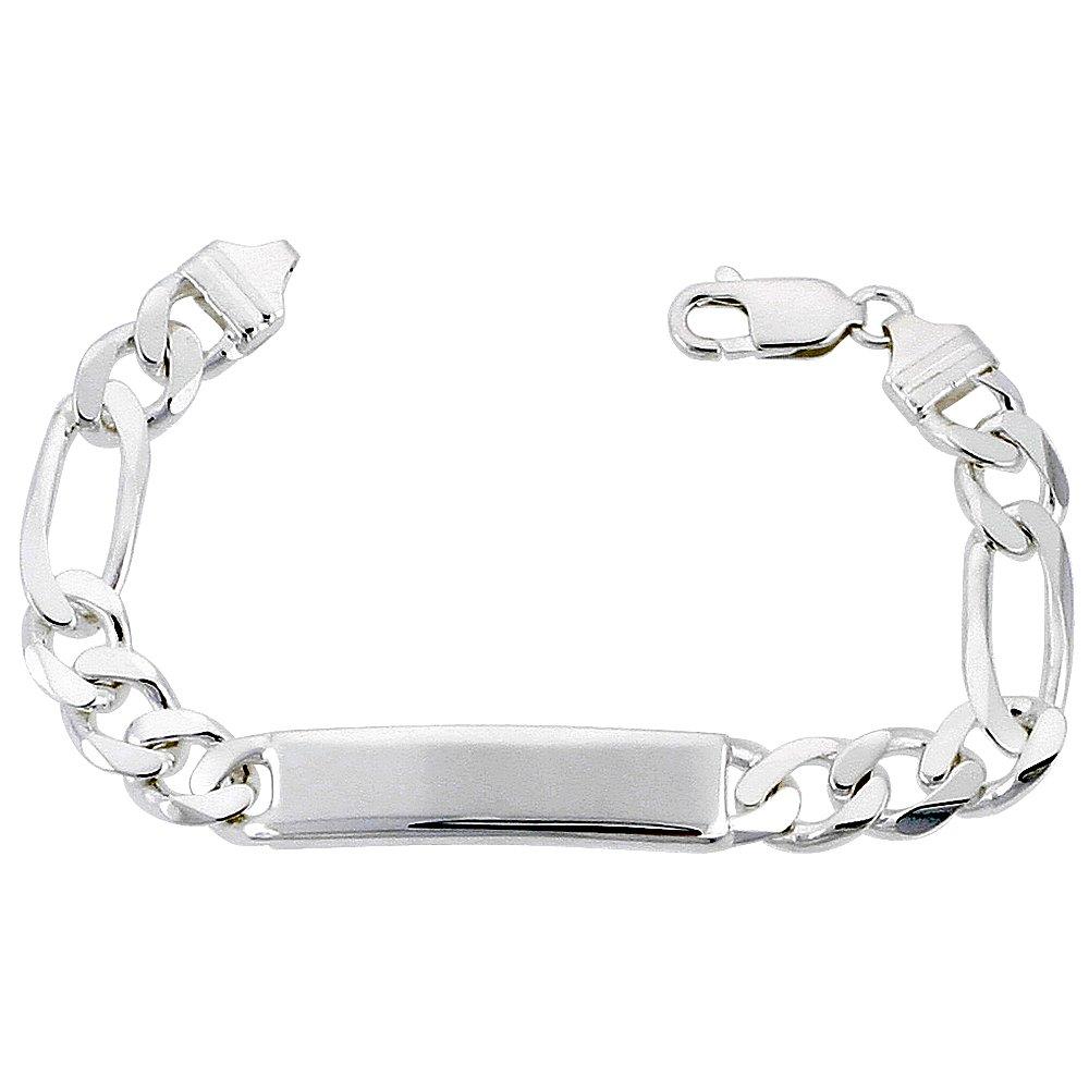 Sterling Silver ID Bracelet Figaro Link 3/8 inch wide Nickel Free Italy, 9 inch