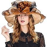 Women's Organza Hat Kentucky Derby Church Dress Bridal Tea Party Wedding Hat Sun Hat Cap(Brown)