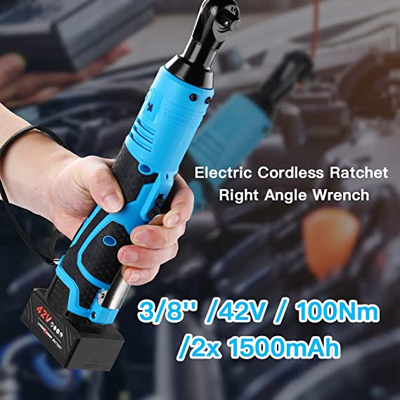 260RPM Speed 90N.m Large Torque Elikliv Electric Ratchet Wrench 3//8 in 42V 100Nm Cordless Ratchet Right Angle Wrench Tool Set with Batteries