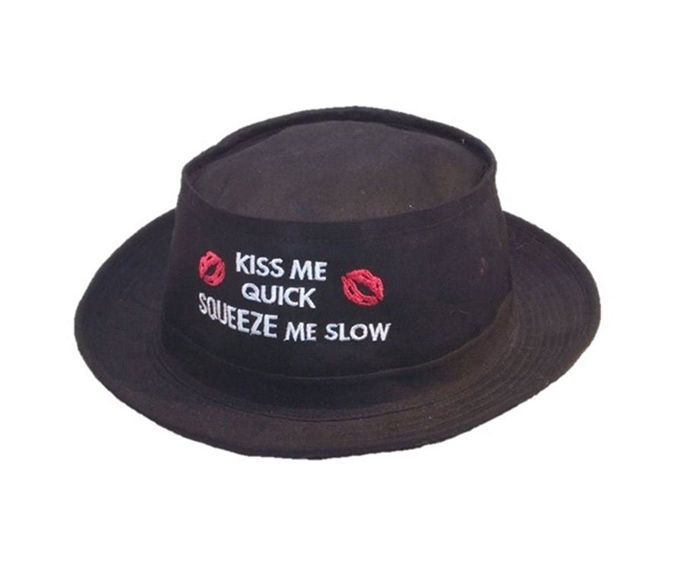 Black Pork Pie Hat Kiss Me Quick Trilby Stag Do Party Blackpool SSP