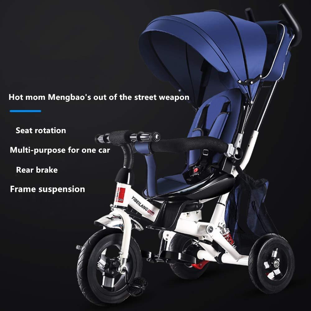 LIUXIQUAN Kinderauto dreirädriges Fahrradbabyhandstoßdrehendes Sitzdämpfer-Kinderfahrrad,Blau