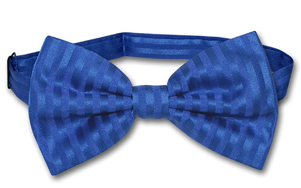 Vesuvio Napoli BOWTie ROYAL BLUE Color Striped Vertical Stripes Mens Bow Tie