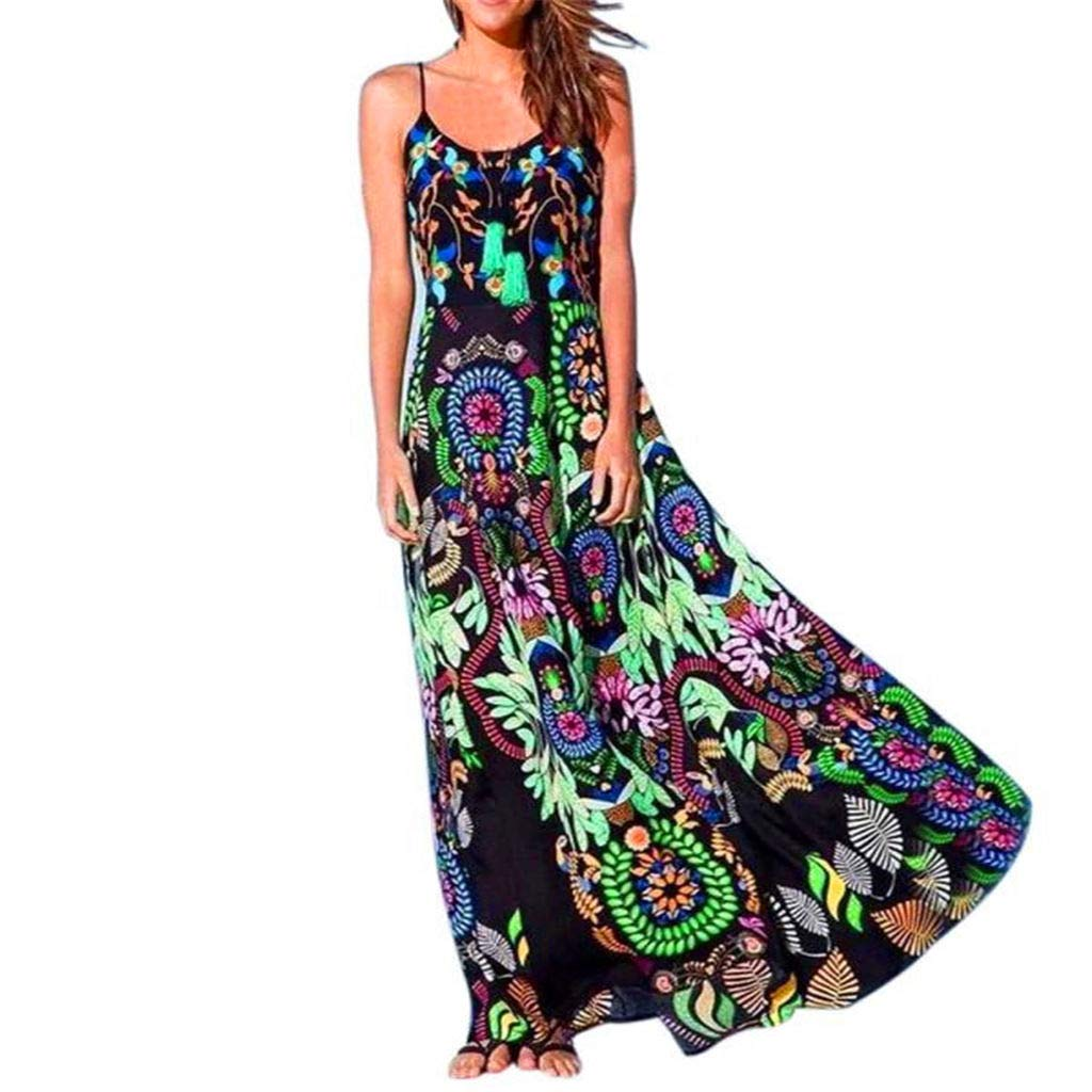Floral Maxi Dresses Women Bohemian Printed Sundress Summer V Neck Sleeveless A-Line Party Holiday Beach Flowy Dress (Black, XL)