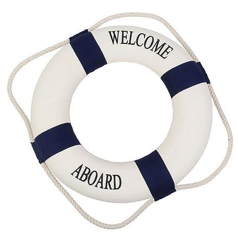 Flotador salvavidas marino mediterráneo para decoración en casa o pared (texto en inglés),
