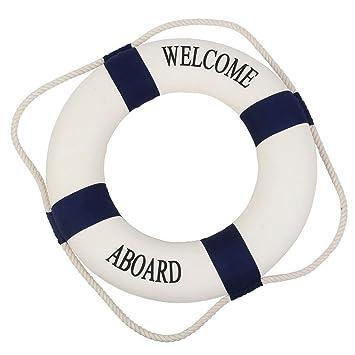 Flotador salvavidas marino mediterráneo para decoración en casa o pared texto en inglés , plástico, azul marino, 35cm: Amazon.es: Libros