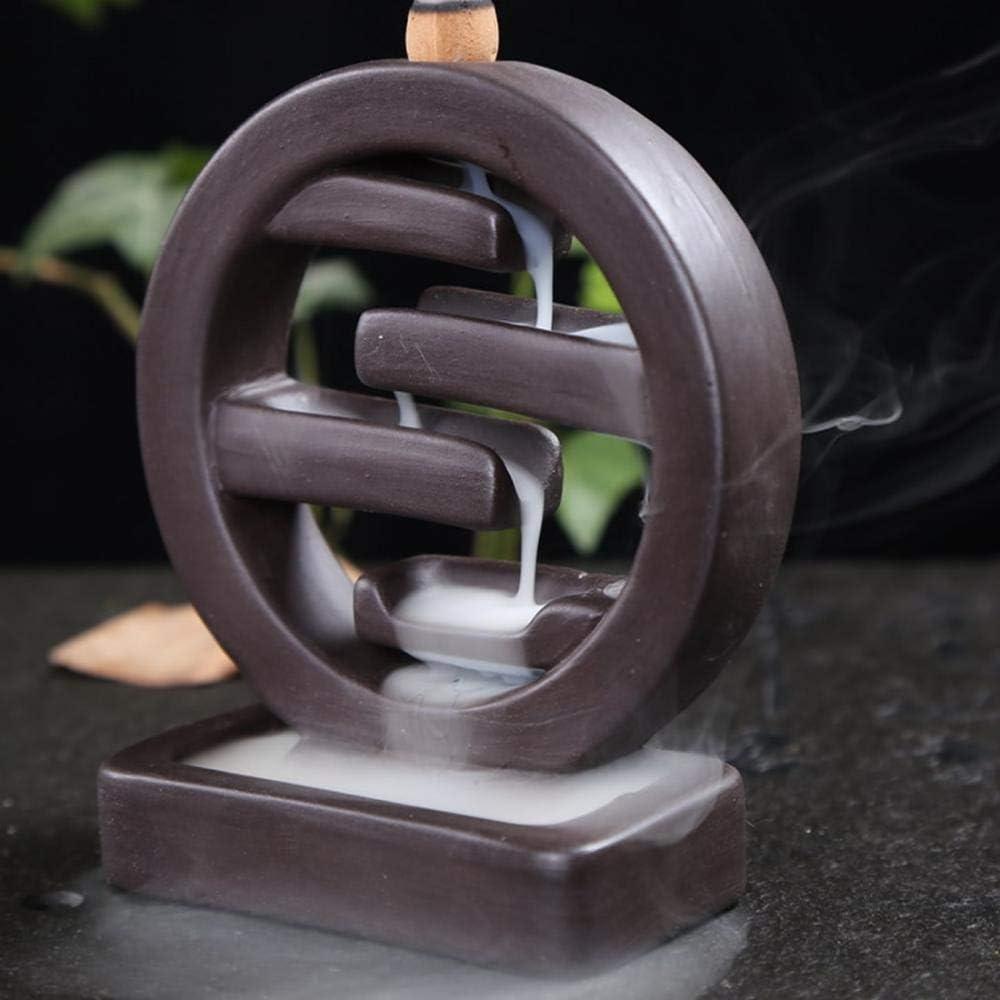 Quemador de incienso de reflujo con 10 conos de incienso de reflujo, decoración del hogar, soporte para varillas de incienso de cerámica