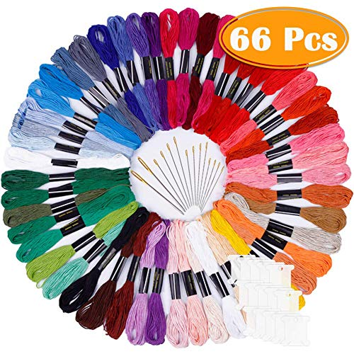 Paxcoo 50 Skeins Embroidery Floss Cross Stitch Supplies Cross Stitch Thread with 16 Pcs Embroidery Needles and 12 Pcs Floss Bobbins
