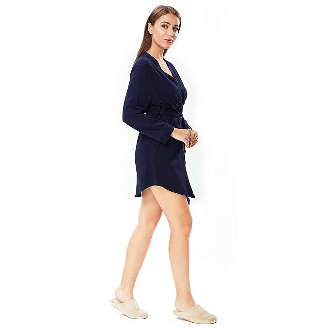 ENIDMIL Bata para Mujer Algodón - Albornoz de Kimono de Mujer Corto - Ropa de Dormir con Cinturón: Amazon.es: Ropa y accesorios