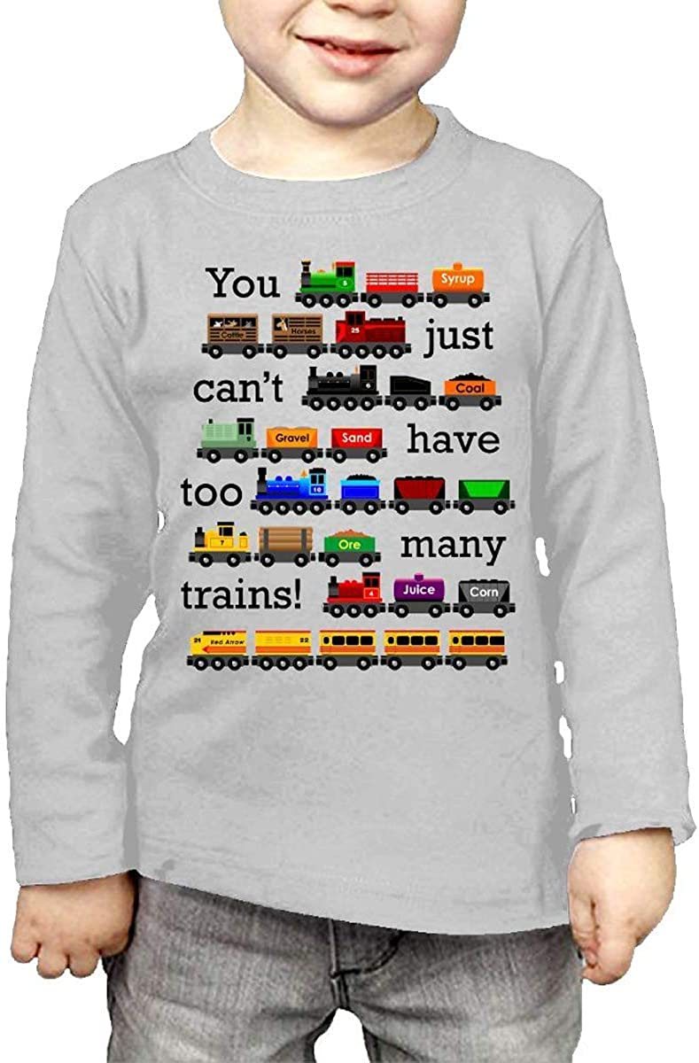 Waldeal Little Boys' Too Many Trains Long Sleeve T Shirt Kids Graphic Tee