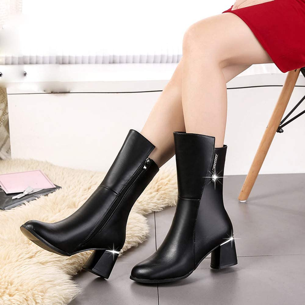 Bottes Femme Binggong Bottes de Mode pour Femmes Bottes /à Tube Court Bottes en Daim /à Franges Bottes de Neige /à Talon Plat