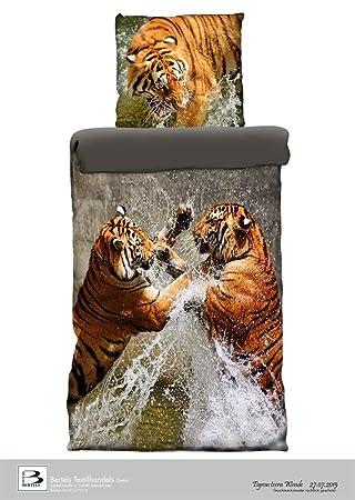 Fotorealistischer Digitaldruck Bettwäsche Renforce Tiger Tigron Mit
