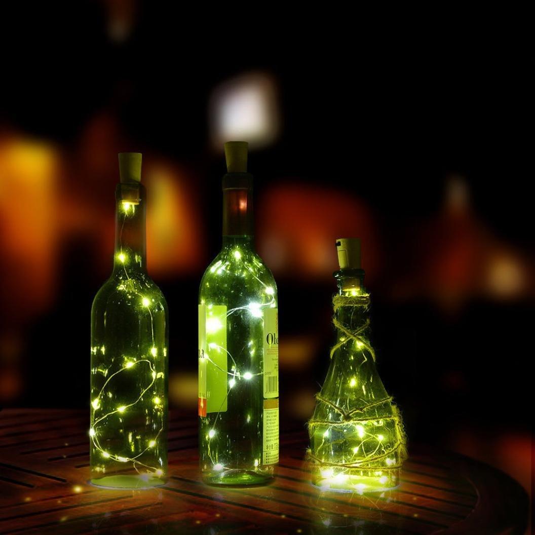 Transer 15 LED Cork Shaped LED Night Starry Light Wine Bottle Lamp for Xmas Party Orange