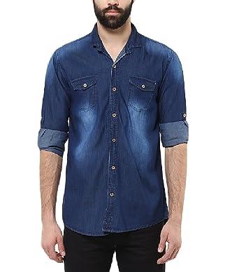 71dc04b2e2f Urbano Fashion Men s Dark Blue Casual Denim Shirt (shirt-sprdenim-42-02)   Amazon.in  Clothing   Accessories